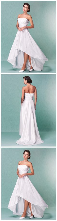 "Such a classy asymmetrical wedding dress with an off-shoulder neckline! Tip: add a wedding wrap or gloves for a more sophisticated look! Click for more details! Remember to use coupon code ""PTL20901"" for an extra discount when you spend $100+"