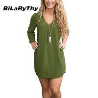 BiLaRyThy Casual Women Chiffon Dress Three Quarter V Neck Loose Mini Dresses Solid Green Vestidos Femininos