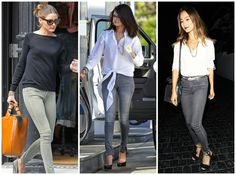 """Your favorite blouse + jeans combo gets a major celebworthy update with the """"Doll Charbon"""" Grey Skinny Jeans from Bullet Blues - made in USA, of course! #Greyskinnyjeans #BulletBlues"""