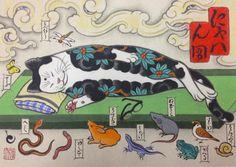 Monmon Nirvana Cat Print