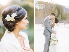 Winter wedding inspiration. Wedding portraits in the snow. Featuring bridal dress and fur shawl by Marisol Aparicio. Jennifer Fujikawa Photography