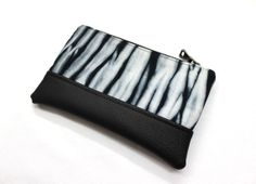 Shibori Clutch, Hand Dyed Black and White Small Purse