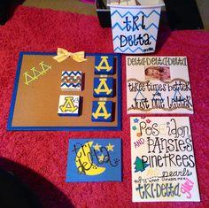 Crafty Tri Delta Little gifts Delta Sorority, College Sorority, Delta Phi Epsilon, Tri Delta, Delta Zeta, Sorority Life, Kappa, D Craft, Diy Craft Projects
