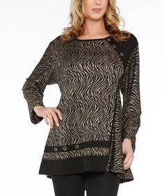 94244ae5c6de7 Dalin Black   Taupe Leopard Swing Tunic - Plus