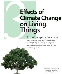 Lesson 3: Effects of Climate Change on Living Things   In small groups, middle school students learn about potential impacts of climate change on living things in a variety of ecosystems. Students communicate these impacts to the class through skits.