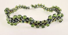 Seed Bead Woven Bracelet in Metallic Olive Green and Matte Olive Green 8 Inches. $15.00, via Etsy.