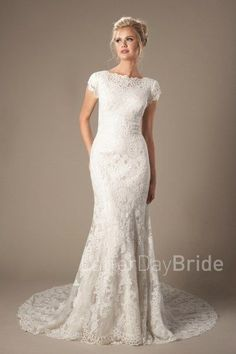 modest lace wedding gowns, the Brentwood with lace and high neckline