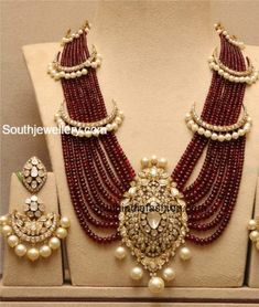 Ruby Beads Haram with Polki Pendant and Earrings photo