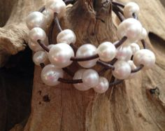 Leather Cuff Bracelet with White Baroque by ChristianOPearls