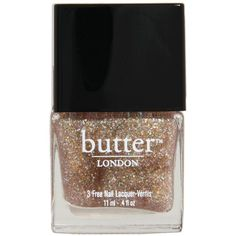 Butter London Shimmer Nail Polish ($9.99) ❤ liked on Polyvore featuring beauty products, nail care, nail polish, nail, makeup, gold, clear glitter nail polish, nail lacquer, hologram nail polish and butter london