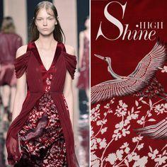 日本订单 仙鹤真丝素绉缎面料布料丝绸服装旗袍长裙桑蚕丝布料美
