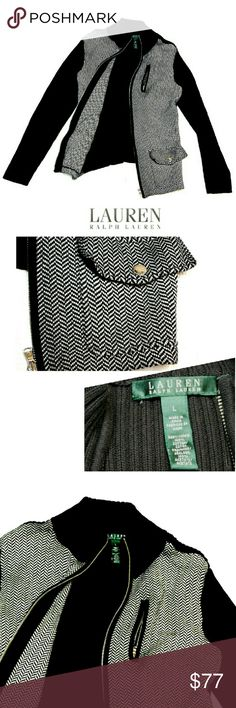 "LAUREN RALPH LAUREN  HERRINGBONE SWEATER JACKET LAUREN RALPH LAUREN HERRINGBONE SWEATER JACKET Pre-Loved  / EUC RN# 41381 SZ L *   100% Cotton  Trim 100% Acetate *   Herringbone Pattern w/Black Ribbed Sleeves & Trim *   Center Zipper Closing *   Side Zipper Pocket *   Front Snap Pockets *   Silver Tone Hardware Approx Neas;    *   Armpit to Armpit   18""    *   Back Neckline to Hem L   23""    *   Collar Height   2 1/2""    *   Sleeve Length   17"" Pls See All Pics. Ask ? If Not Sure Lauren…"