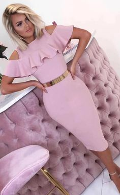 Pink Bandage Dress, Designer Party Dresses, Sexy Shorts, Sleeve Styles, Beautiful Dresses, Ruffles, High Neck Dress, How To Wear, Fashion Design