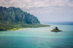 Chinaman's Hat off Oahu's North Shore taken from on board a Blue Hawaiian Helicopter.