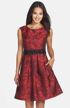 Eliza J Embellished Waist Brocade Fit & Flare Dress (Regular & Petite) available at #Nordstrom
