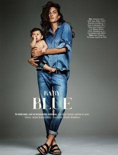 Double Denim (Marjolaine Rocher by Alvaro Beamud Cortes for Glamour France Editorial Denim, Editorial Fashion, Fashion Trends, Jeans Boyfriend, All Jeans, Grey Jeans, Blue Denim, Raw Denim, Denim Jeans