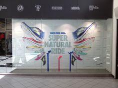 Nike Free Run+ Super Natural Ride retail window display, shoe display.