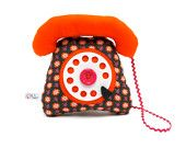 phone dial telephone play cushion velcro handset retro fabric orange - telephone a cadran combiné avec velcro