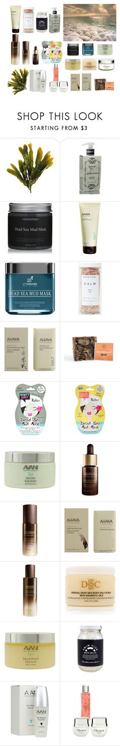 """Dead Sea Beauty Products"" by dezaval ❤ liked on Polyvore featuring beauty, Nostalgia, Ahava, Ultimate, Boohoo, Deep Sea Cosmetics, Avani and Chiara #beautytips #skincaretips #haircaretips"