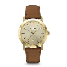 From the Classic Collection. In stainless steel with gold-finish, champagne sunray dial, luminous hands, calendar, second hand, and brown leather strap.