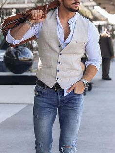 Vest Outfits, Casual Outfits, Gilet Costume, Business Casual Men, Suit Fashion, Mens Fashion Outfits, Rugged Men's Fashion, New Mens Fashion, Style Fashion