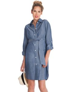 Unavailable sizes will be back in stock May 29th     Soft chambray denim   Button down front  Empire sash ties   Turn up sleeves   Above the knee    Perfect a key seasonal trend for pregnancy with our Chambray Belted Maternity Dress! Crafted in 100% cotton, this soft chambray denim dress for pregnant women offers an easy relaxed fit through every trimester. Featuring stylish turned up sleeves and a button down design, this denim maternity dress transitions seamlessly into your nursing…