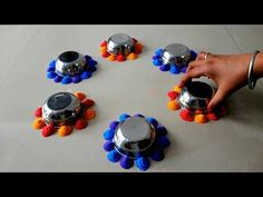 क्या आपको बिल्कुल भी रंगोली बनाना नहीं आता तो कटोरी से बनाये दिवाली की आसान रंगोली Rangoli with Bowl - YouTube