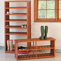 Eucalyptus Shoe Rack & Bench  $99.99...but u could make this out of pallets way cheaper than buying this one!!