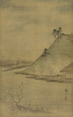 ".:. ""Landscape of the season: Spring"", Utagawa Hiroshige II (1826-1869) - 1850s. - Color on silk."