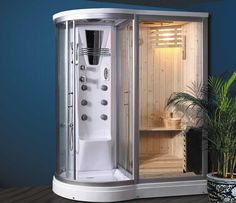 Combination Steam Shower Sauna put in my Tropical bathroom maybe Steam Showers Bathroom, Bathroom Spa, Tropical Bathroom, Walk In Bathtub, Jetted Bathtub, Jacuzzi, Saunas, Sauna Shower, Sauna Steam Room
