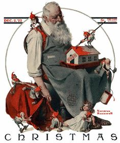 Google Afbeeldingen resultaat voor http://www.best-norman-rockwell-art.com/images/1922-12-02-Saturday-Evening-Post-Norman-Rockwell-cover-Christmas-Santa-with-Elves-no-logo-400.jpg