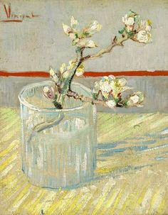 """Vincent van Gogh (1853 - 1890) """"Sprig of Flowering Almond in a Glass Arles"""", 1888"""