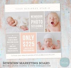 Newborn Photography Marketing Board - Newborn Mini Sessions Photoshop Template - IN007- INSTANT DOWNLOAD by PaperLarkDesigns on Etsy