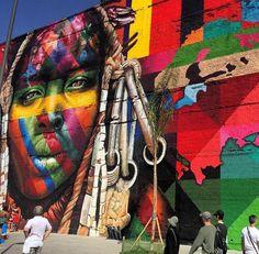 Boulevard Olímpico | Painel ETNIAS, de Eduardo Kobra #rio2016 - Photo by Carol Monroy