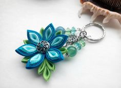 Blue Green Beaded Keychain/Charms Keychain/ by AirinFlowers