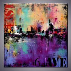 36 Large Abstract Urban Painting Art Painting by ModernArtbyAda