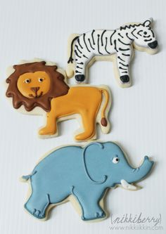 Lion and Zebra and Elephant Cookies Fancy Sugar Cookies, Zebra Cookies, Lion Cookies, Elephant Cookies, Baby Cookies, Cut Out Cookies, Birthday Cookies, Mountain Cake, Shapes Biscuits