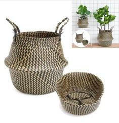 Sea Grass Belly Basket - Zigzag with Baskets, planter, storage baskets
