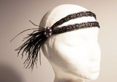 Flapper Black Feathers Headband - 1920s Beaded Hairband - 20s Flapper Girl Inspired