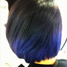 Great ombre hair color option for black headed chicas (like moi and Teen Vogue beauty editor Eva Chen) it will fade from midnight blue to a pale-cornflower-slash-lilac