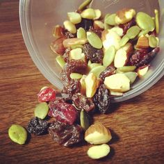 Daniel's Fast Trail Mix - this combo is great for a vegan/Daniel's fast friendly snack - Mix together dried raisins, cranberries, walnuts, almonds, and pumpkin seeds.