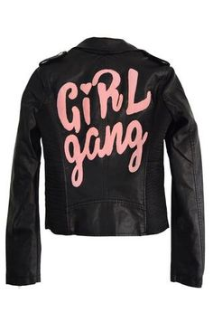 Representing your girls never goes out of style. Vintage-inspired black vegan leather moto jacket that features zip pockets and silver button detailing. Fully lined and rad pink felt patch at the back
