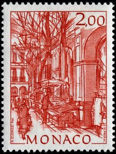 Here are images of five stamps designed after sketches of views of Old Monaco by Monacan artist Hubert Clerissi (1923-2000), engraved by Czesław Słania, and issued by Monaco on May 25, 1992 - *Condamine Market, Monaco. Scott No. 1823..