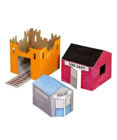 This doll-size cardboard playhouse set entertains for hours without batteries, screens or fancy electronics. Little ones can build their tiny friends' new homes in mere minutes. They feature safe wave-cut edges, a themed playtown mat and a reversible design that can be decorated with markers on one side and stickers and paint on the other. Best of all, they're made of eco-friendly, recyclable materials!
