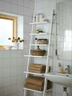 Brilliant Idea for the Bathroom**** update: bought one like this at IKEA for $70. Got it in a dark brown/black.  #bathroom #deco