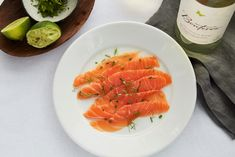 No need to marinate this gravlax for a day or two! Using this recipe, you can simply cure it for a few minutes and then top with an irresistible lemon and herb vinaigrette! Fish Friday, Salmon Recipes, Vinaigrette, Cantaloupe, Seafood, The Cure, Lemon, Appetizers, Herbs