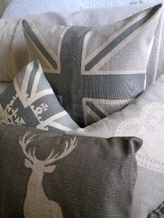 Grey and white pillows