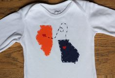 Custom onesies and shirts with any states and hearts on any cities. Illinois and Georgia shown here!  https://www.etsy.com/listing/498070583/state-to-state-with-love-custom-shirt-or