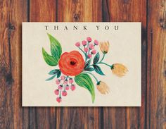 Floral Thank You Card by ConteurCo on Etsy, $2.00