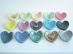This order is for 1 mini heart dish. The colors are listed in order starting from the top left    Perfect size to hold one ring or a pair of earrings. ~